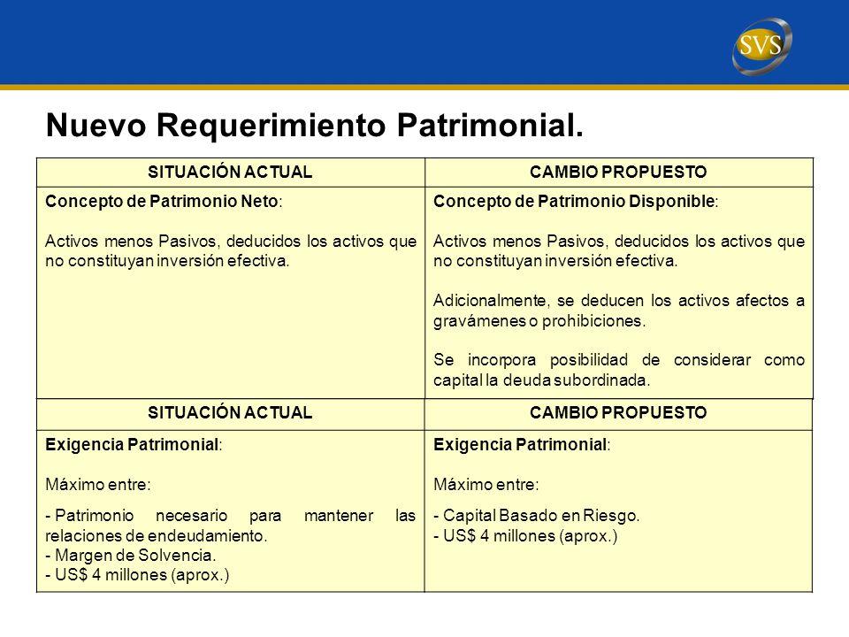 SITUACIÓN ACTUALCAMBIO PROPUESTO Concepto de Patrimonio Neto: Activos menos Pasivos, deducidos los activos que no constituyan inversión efectiva.
