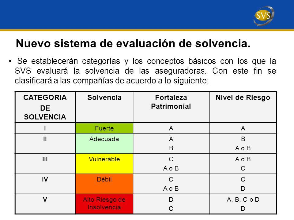 Se establecerán categorías y los conceptos básicos con los que la SVS evaluará la solvencia de las aseguradoras.