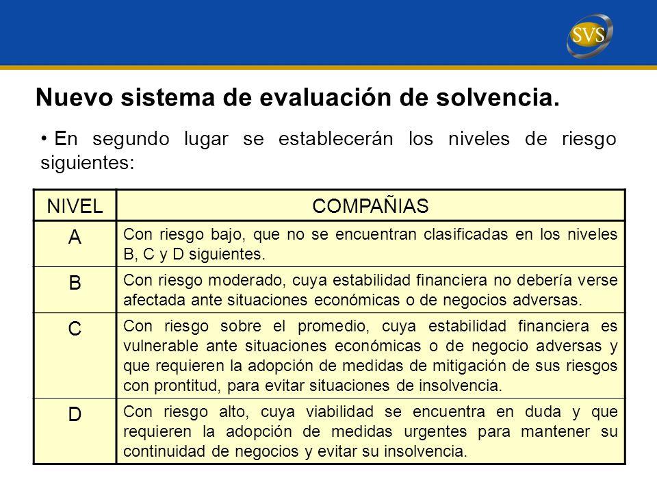 En segundo lugar se establecerán los niveles de riesgo siguientes: Nuevo sistema de evaluación de solvencia.