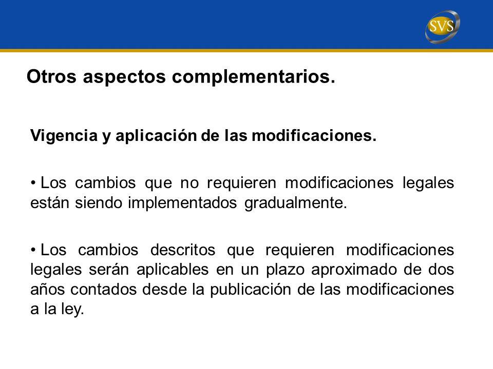 Vigencia y aplicación de las modificaciones.