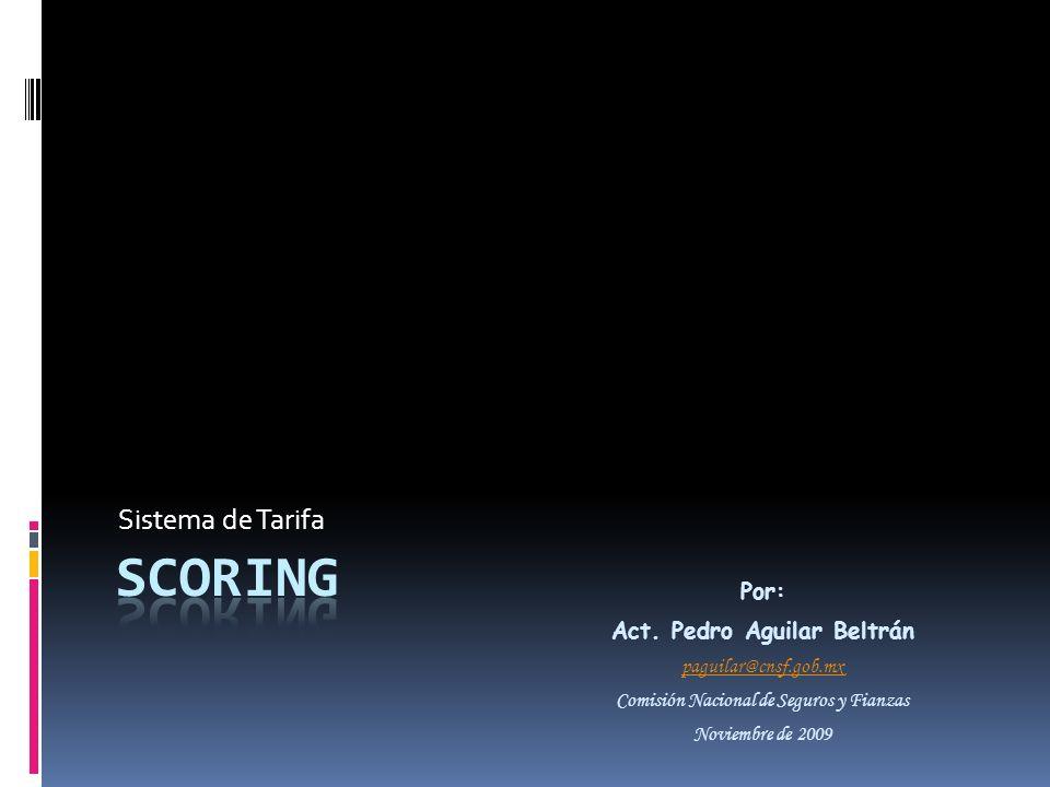 Sistema de Tarifa Por: Act. Pedro Aguilar Beltrán paguilar@cnsf.gob.mx Comisión Nacional de Seguros y Fianzas Noviembre de 2009