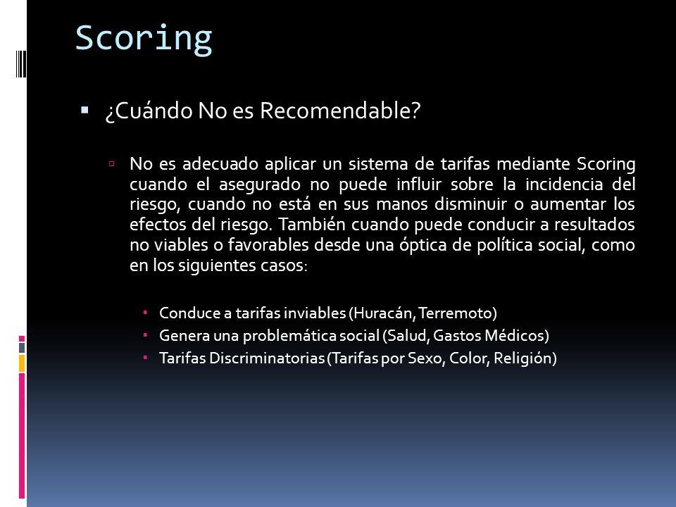 Scoring ¿Cuándo No es Recomendable? No es adecuado aplicar un sistema de tarifas mediante Scoring cuando el asegurado no puede influir sobre la incide