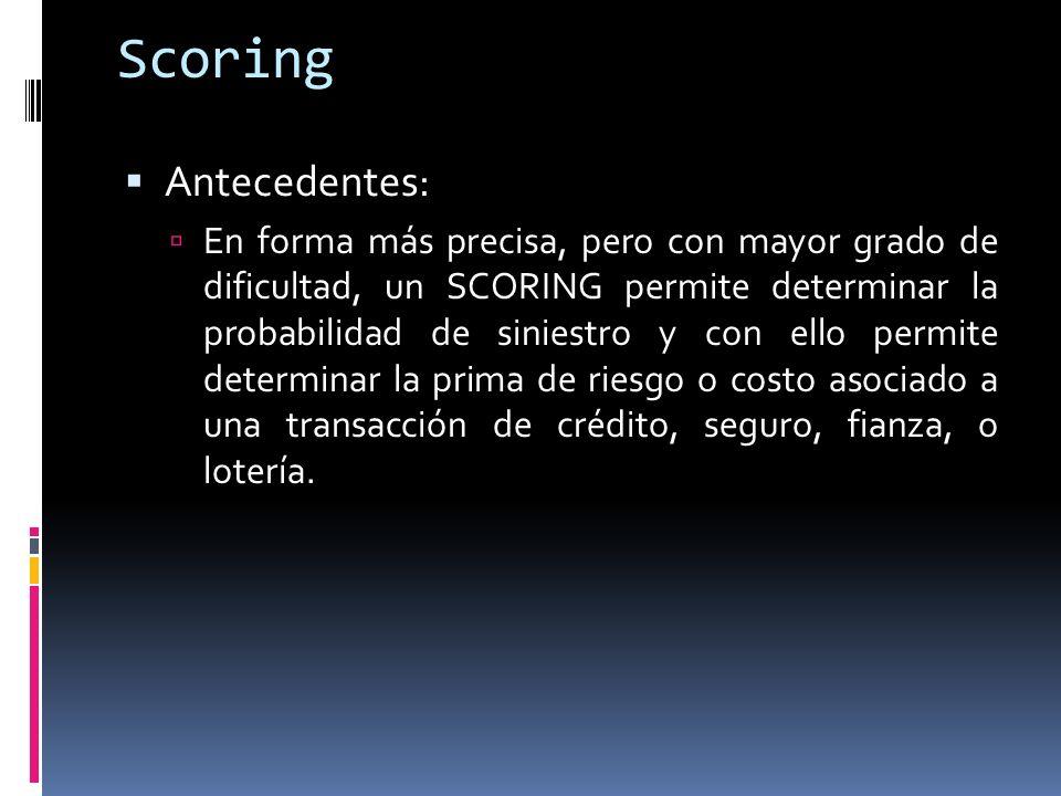 Scoring Antecedentes: En forma más precisa, pero con mayor grado de dificultad, un SCORING permite determinar la probabilidad de siniestro y con ello
