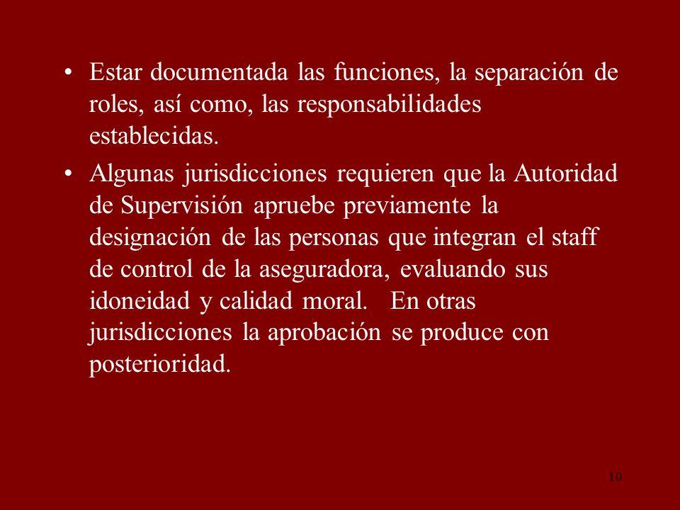 10 Estar documentada las funciones, la separación de roles, así como, las responsabilidades establecidas. Algunas jurisdicciones requieren que la Auto