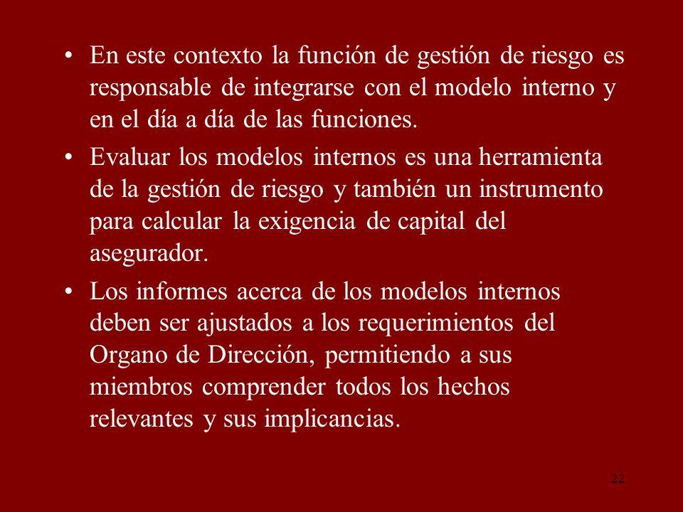 22 En este contexto la función de gestión de riesgo es responsable de integrarse con el modelo interno y en el día a día de las funciones. Evaluar los
