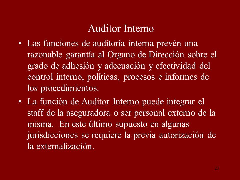 23 Auditor Interno Las funciones de auditoría interna prevén una razonable garantía al Organo de Dirección sobre el grado de adhesión y adecuación y e