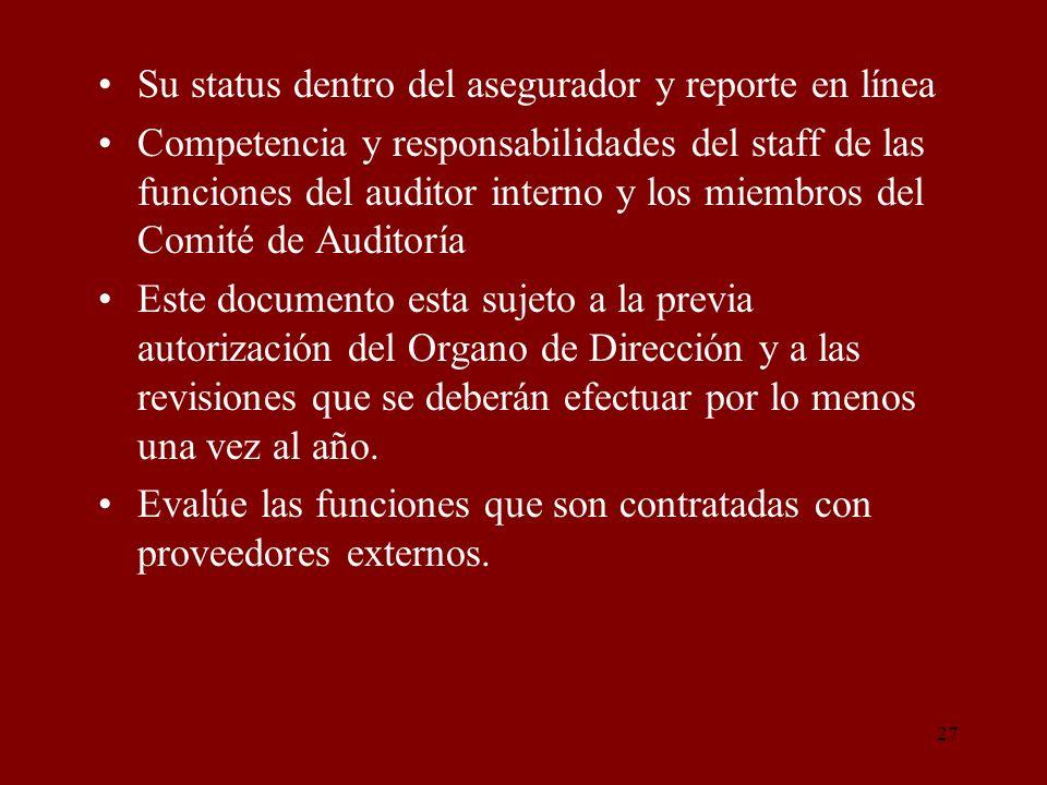 27 Su status dentro del asegurador y reporte en línea Competencia y responsabilidades del staff de las funciones del auditor interno y los miembros de