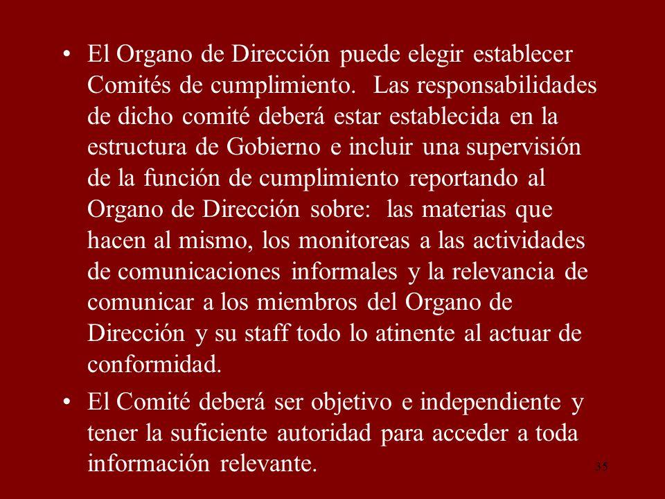 35 El Organo de Dirección puede elegir establecer Comités de cumplimiento. Las responsabilidades de dicho comité deberá estar establecida en la estruc