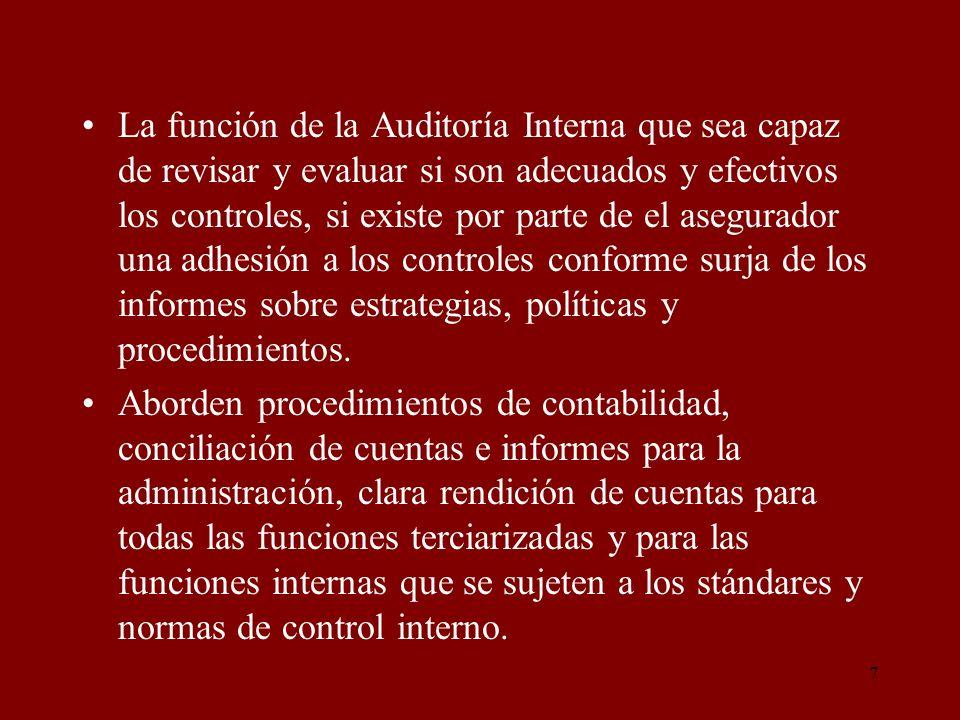 7 La función de la Auditoría Interna que sea capaz de revisar y evaluar si son adecuados y efectivos los controles, si existe por parte de el asegurad
