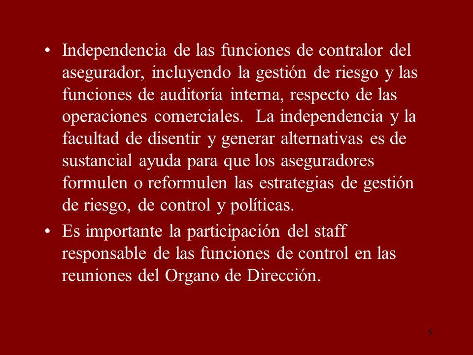 9 Independencia de las funciones de contralor del asegurador, incluyendo la gestión de riesgo y las funciones de auditoría interna, respecto de las op