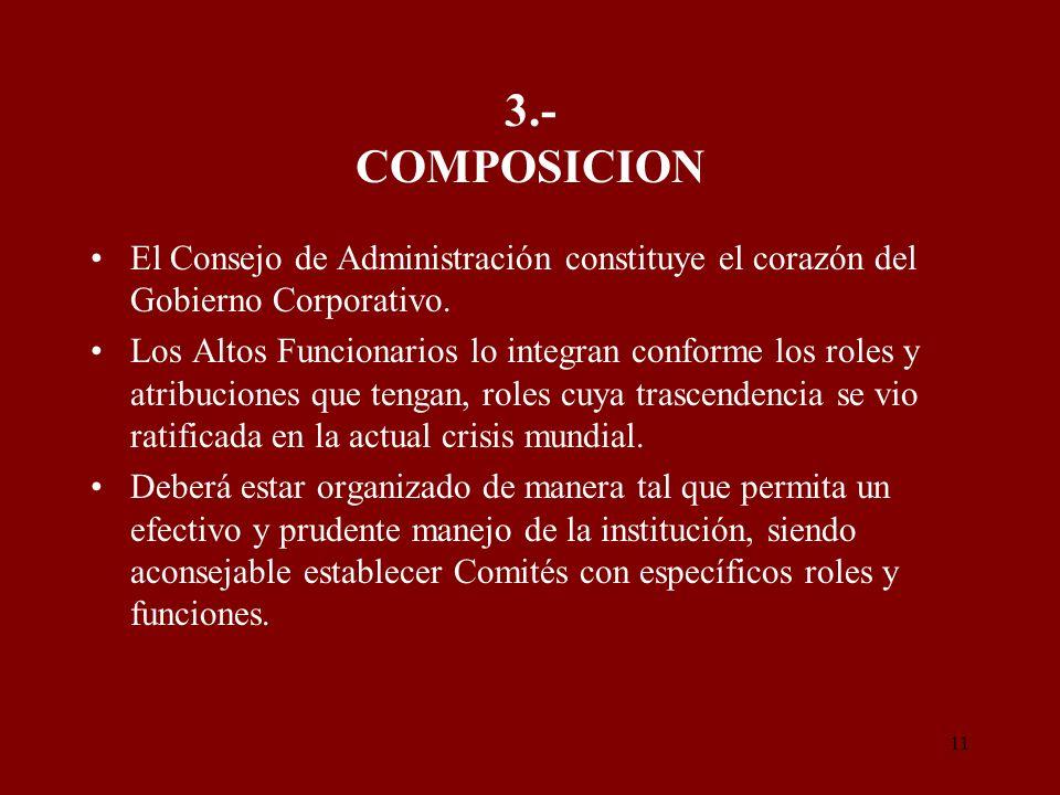 11 3.- COMPOSICION El Consejo de Administración constituye el corazón del Gobierno Corporativo. Los Altos Funcionarios lo integran conforme los roles
