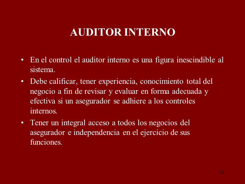 22 AUDITOR INTERNO En el control el auditor interno es una figura inescindible al sistema. Debe calificar, tener experiencia, conocimiento total del n