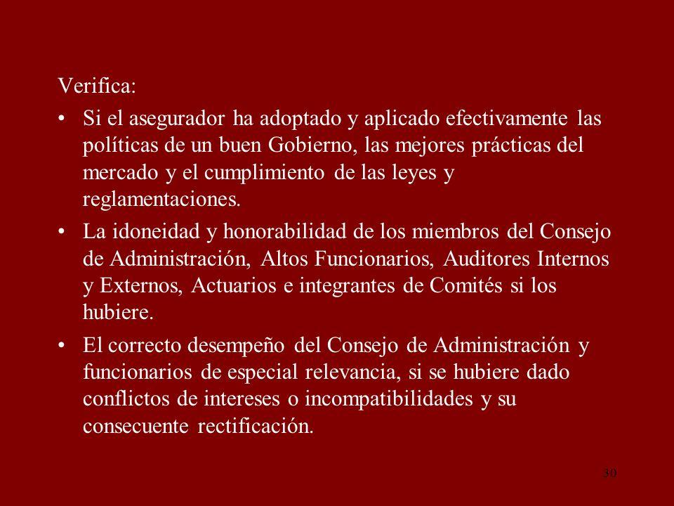30 Verifica: Si el asegurador ha adoptado y aplicado efectivamente las políticas de un buen Gobierno, las mejores prácticas del mercado y el cumplimie