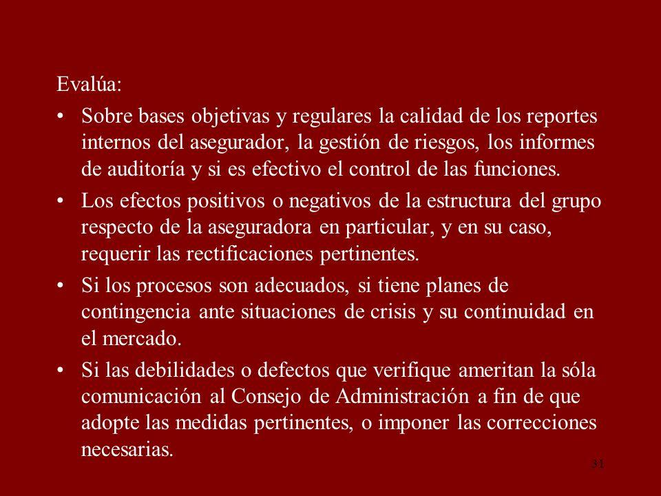 31 Evalúa: Sobre bases objetivas y regulares la calidad de los reportes internos del asegurador, la gestión de riesgos, los informes de auditoría y si