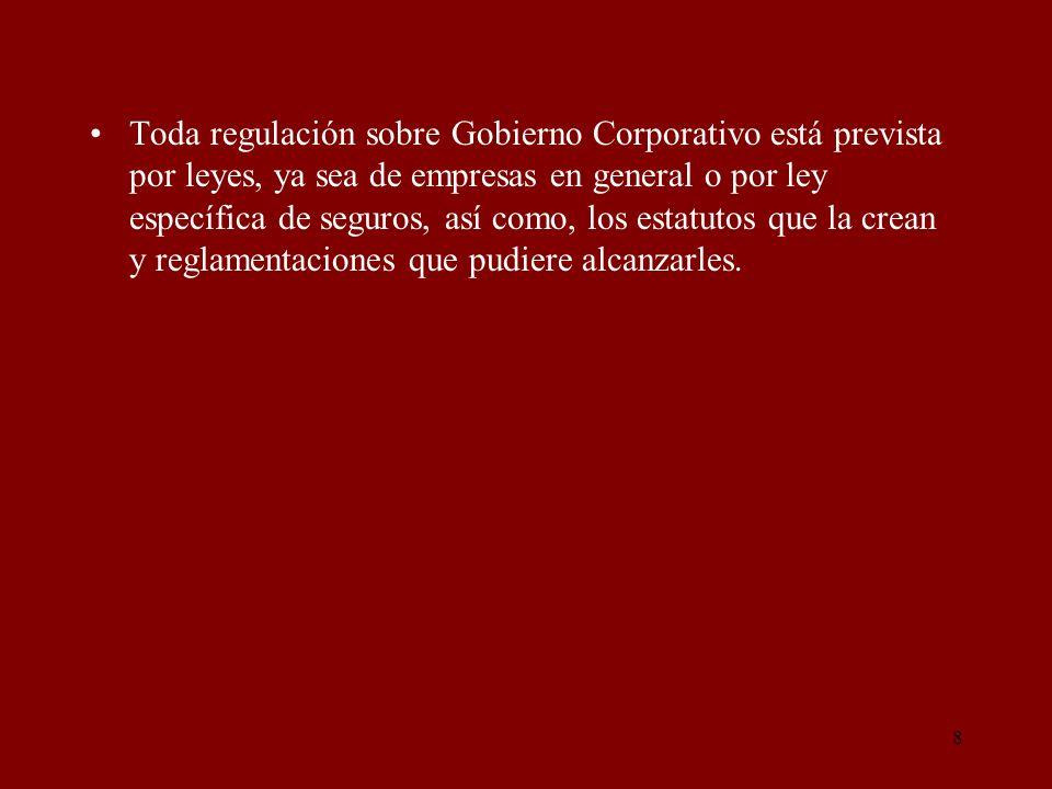 8 Toda regulación sobre Gobierno Corporativo está prevista por leyes, ya sea de empresas en general o por ley específica de seguros, así como, los est