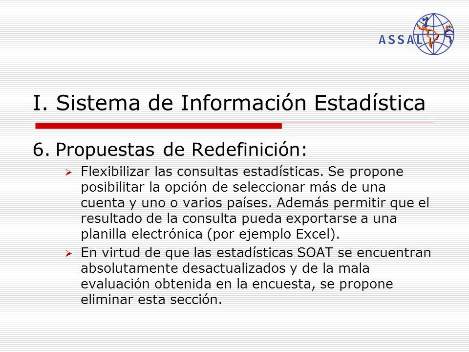 I. Sistema de Información Estadística 6.Propuestas de Redefinición: Flexibilizar las consultas estadísticas. Se propone posibilitar la opción de selec