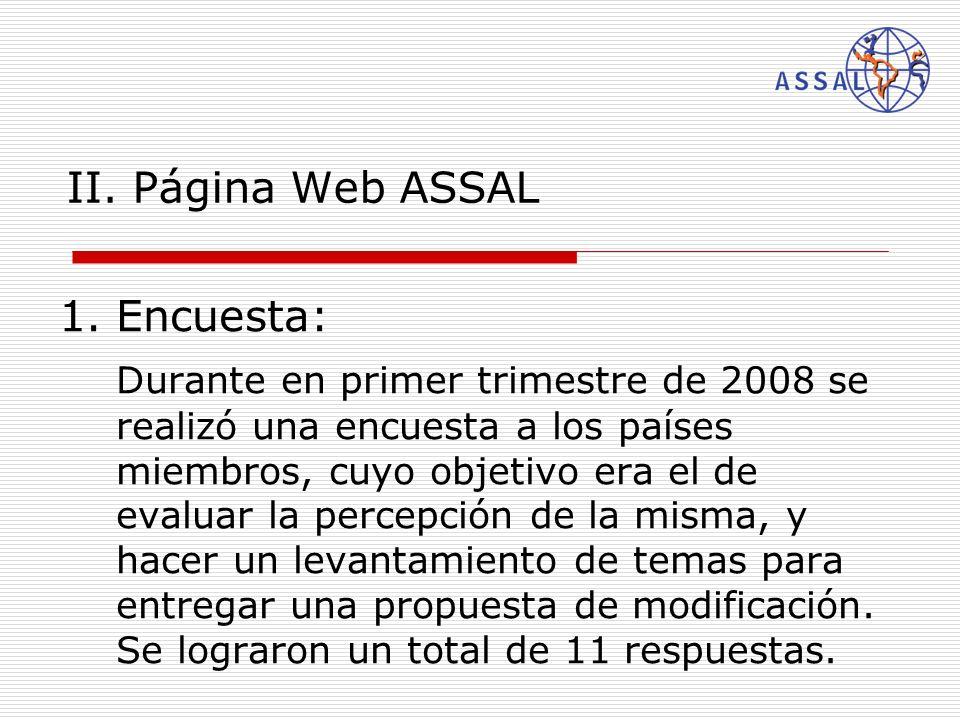 II. Página Web ASSAL 1.Encuesta: Durante en primer trimestre de 2008 se realizó una encuesta a los países miembros, cuyo objetivo era el de evaluar la