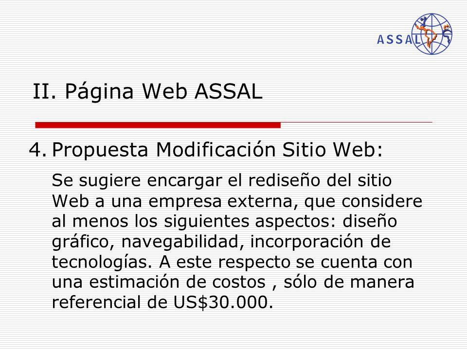 II. Página Web ASSAL 4.Propuesta Modificación Sitio Web: Se sugiere encargar el rediseño del sitio Web a una empresa externa, que considere al menos l