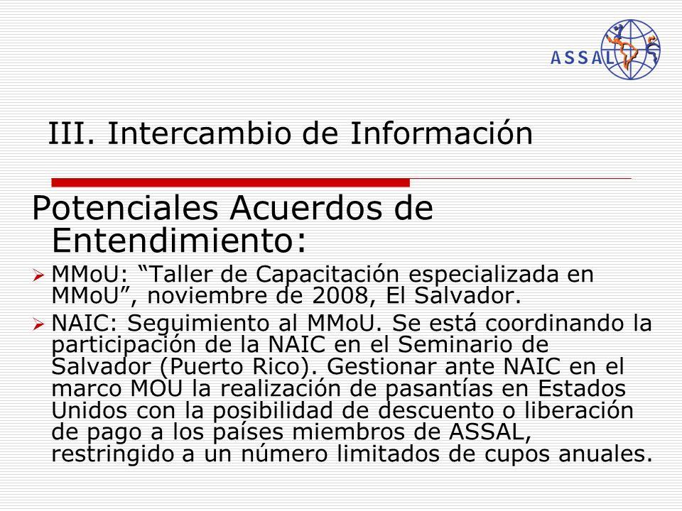 III. Intercambio de Información Potenciales Acuerdos de Entendimiento : MMoU: Taller de Capacitación especializada en MMoU, noviembre de 2008, El Salv
