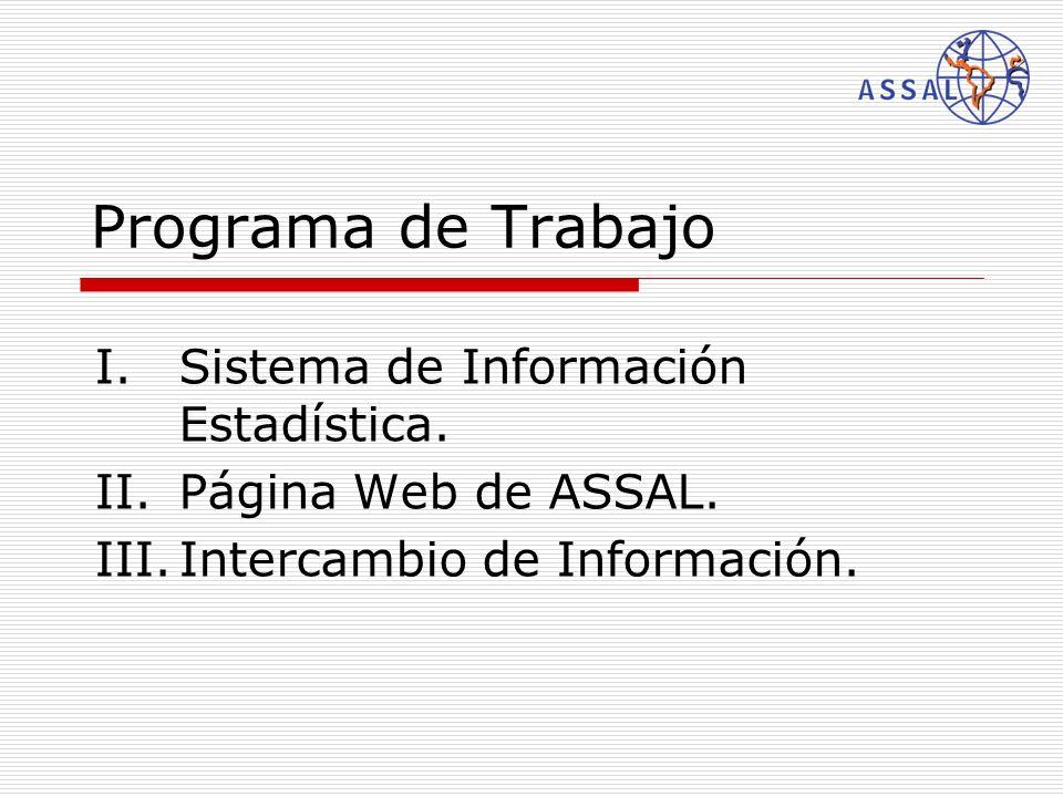 Programa de Trabajo I.Sistema de Información Estadística. II.Página Web de ASSAL. III.Intercambio de Información.