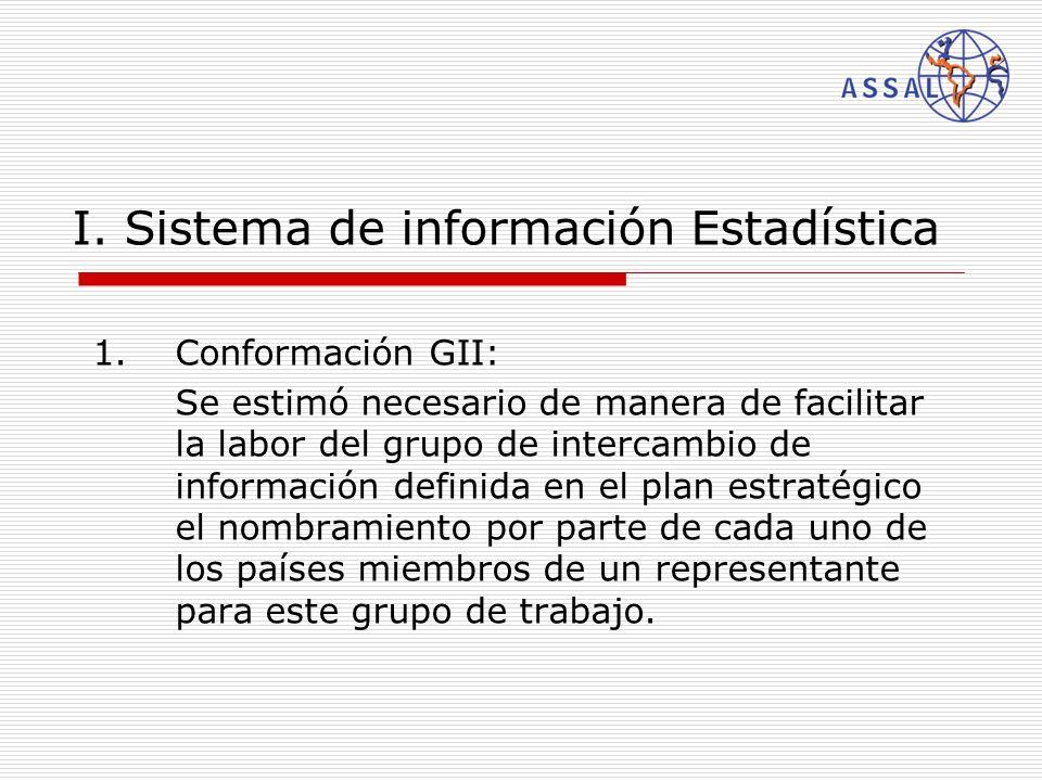 I. Sistema de información Estadística 1.Conformación GII: Se estimó necesario de manera de facilitar la labor del grupo de intercambio de información