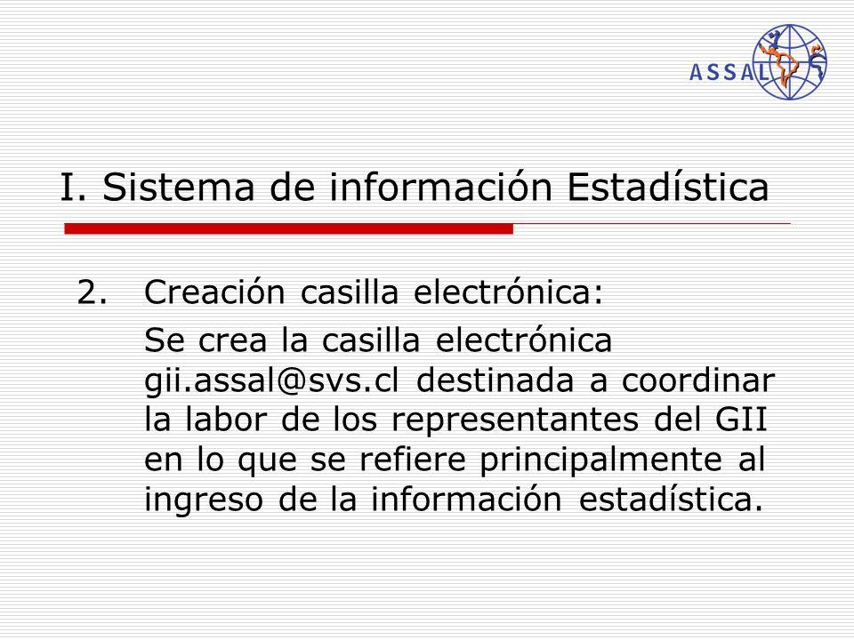 I. Sistema de información Estadística 2.Creación casilla electrónica: Se crea la casilla electrónica gii.assal@svs.cl destinada a coordinar la labor d