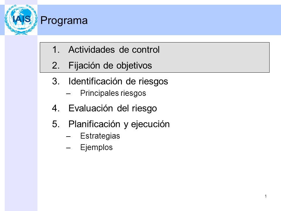 1 Programa 1.Actividades de control 2.Fijación de objetivos 3.Identificación de riesgos –Principales riesgos 4.Evaluación del riesgo 5.Planificación y ejecución –Estrategias –Ejemplos