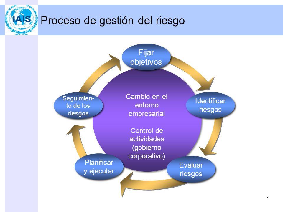 Proceso de gestión del riesgo 2 Fijar objetivos Identificar riesgos Seguimien- to de los riesgos Evaluar riesgos Planificar y ejecutar Cambio en el entorno empresarial Control de actividades (gobierno corporativo)