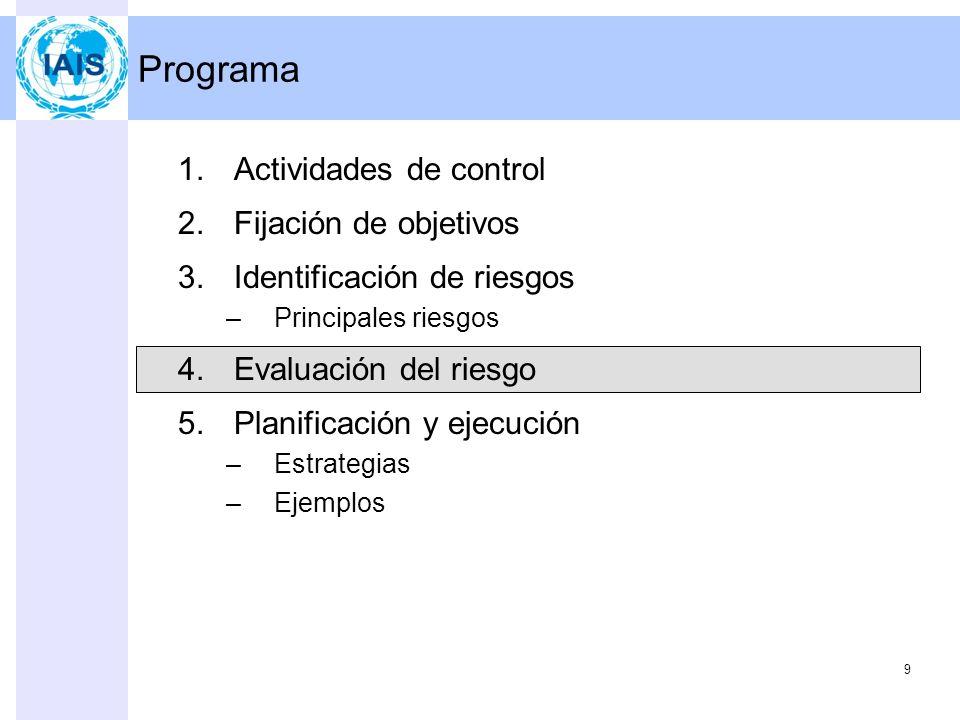 9 Programa 1.Actividades de control 2.Fijación de objetivos 3.Identificación de riesgos –Principales riesgos 4.Evaluación del riesgo 5.Planificación y ejecución –Estrategias –Ejemplos