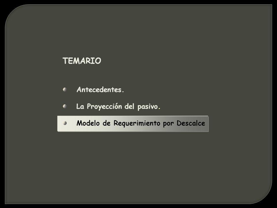 TEMARIO Antecedentes. La Proyección del pasivo. Modelo de Requerimiento por Descalce
