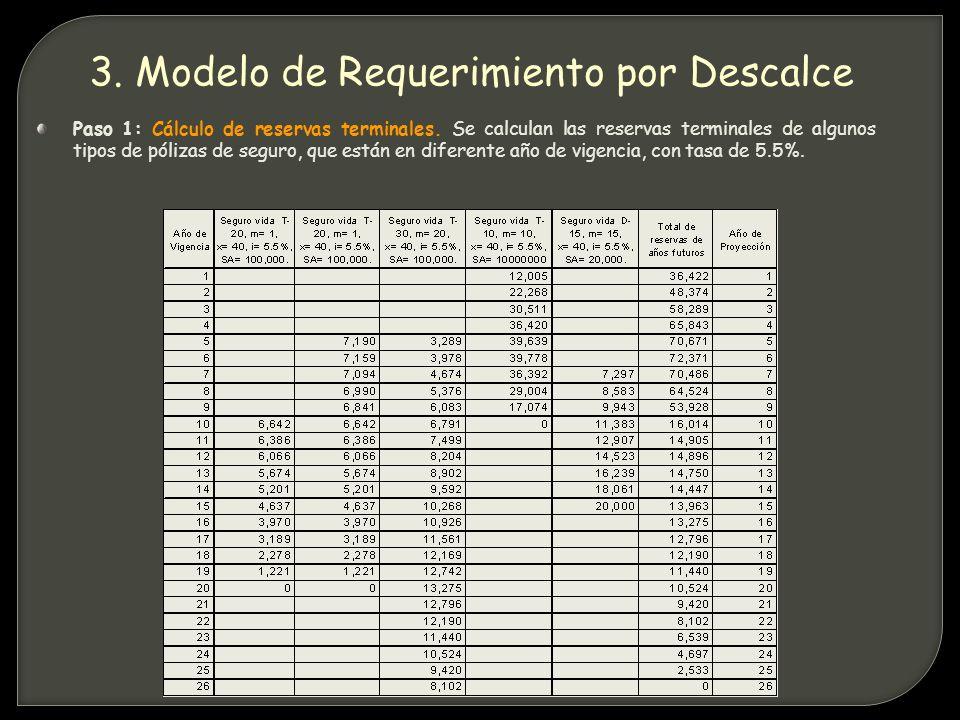 Paso 1: Cálculo de reservas terminales.