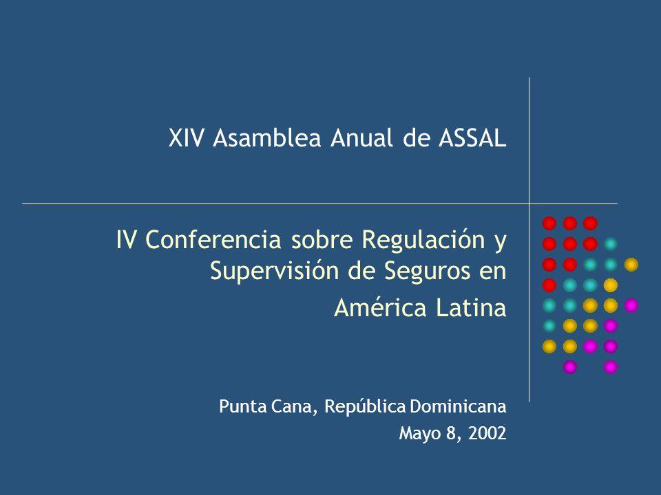 XIV Asamblea Anual de ASSAL IV Conferencia sobre Regulación y Supervisión de Seguros en América Latina Punta Cana, República Dominicana Mayo 8, 2002