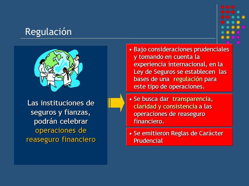 Regulación Las instituciones de seguros y fianzas, podrán celebrar operaciones de reaseguro financiero Bajo consideraciones prudenciales y tomando en cuenta la experiencia internacional, en la Ley de Seguros se establecen las bases de una regulación para este tipo de operaciones.Bajo consideraciones prudenciales y tomando en cuenta la experiencia internacional, en la Ley de Seguros se establecen las bases de una regulación para este tipo de operaciones.
