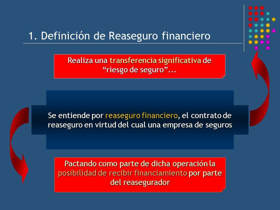 1. Definición de Reaseguro financiero Se entiende por reaseguro financiero, el contrato de reaseguro en virtud del cual una empresa de seguros Realiza