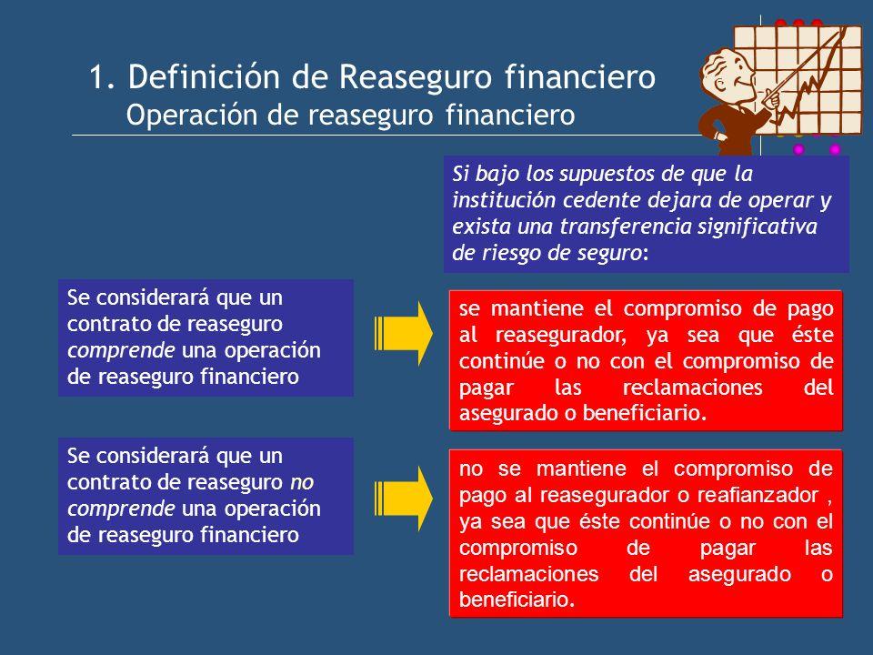 1. Definición de Reaseguro financiero Operación de reaseguro financiero Se considerará que un contrato de reaseguro comprende una operación de reasegu