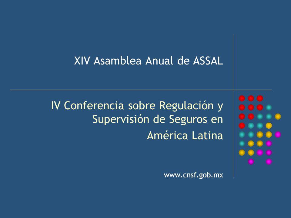 XIV Asamblea Anual de ASSAL IV Conferencia sobre Regulación y Supervisión de Seguros en América Latina www.cnsf.gob.mx