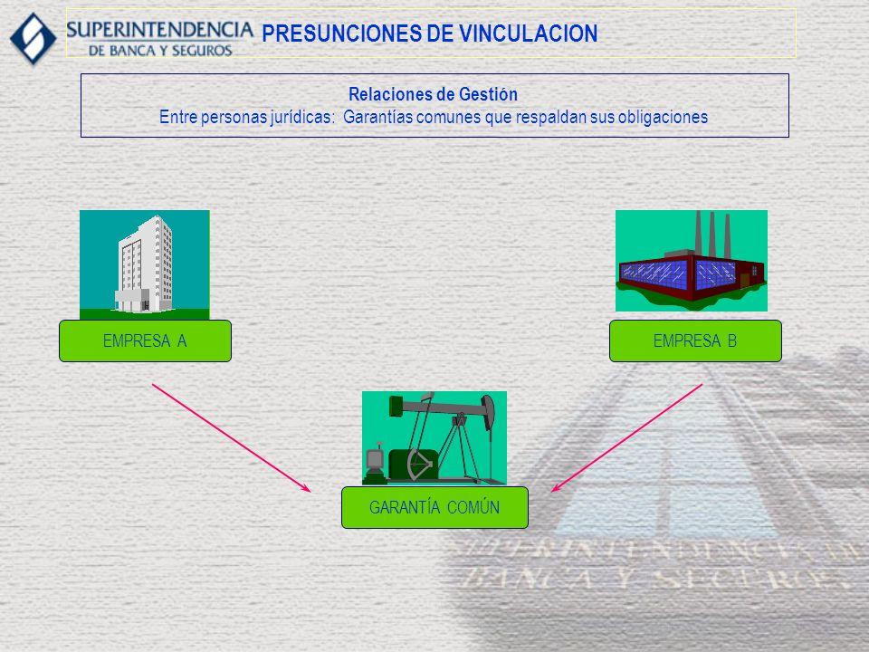 PRESUNCIONES DE VINCULACION Relaciones de Gestión Entre personas jurídicas: Garantías comunes que respaldan sus obligaciones EMPRESA BEMPRESA A GARANTÍA COMÚN