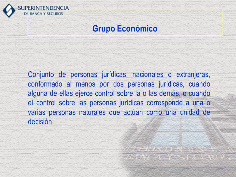 Grupo Económico Conjunto de personas jurídicas, nacionales o extranjeras, conformado al menos por dos personas jurídicas, cuando alguna de ellas ejerc