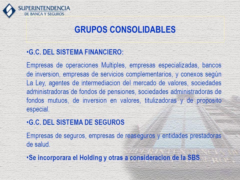 GRUPOS CONSOLIDABLES G.C. DEL SISTEMA FINANCIERO: Empresas de operaciones Multiples, empresas especializadas, bancos de inversion, empresas de servici