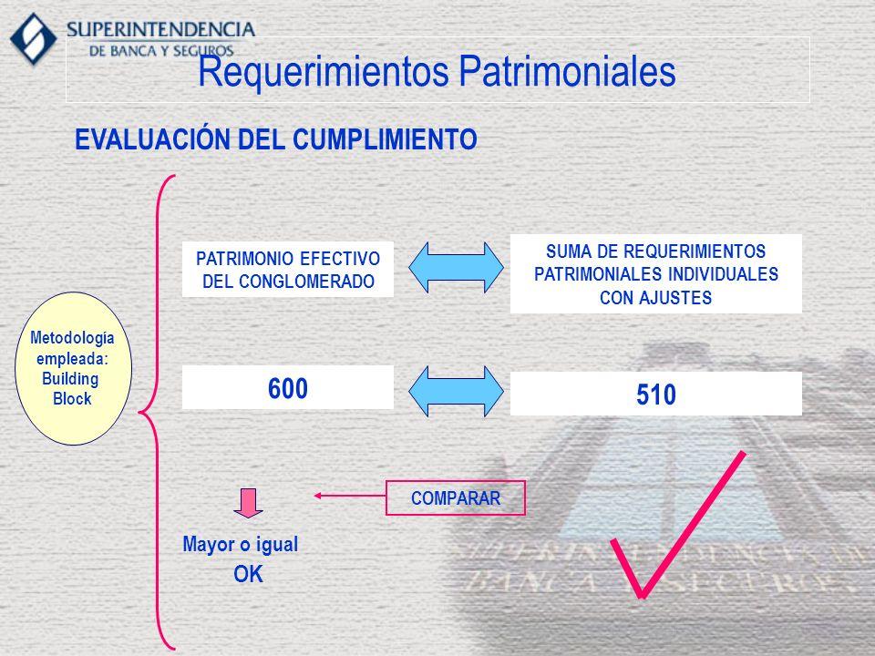 Requerimientos Patrimoniales EVALUACIÓN DEL CUMPLIMIENTO Metodología empleada: Building Block PATRIMONIO EFECTIVO DEL CONGLOMERADO SUMA DE REQUERIMIENTOS PATRIMONIALES INDIVIDUALES CON AJUSTES COMPARAR Mayor o igual OK 600 510