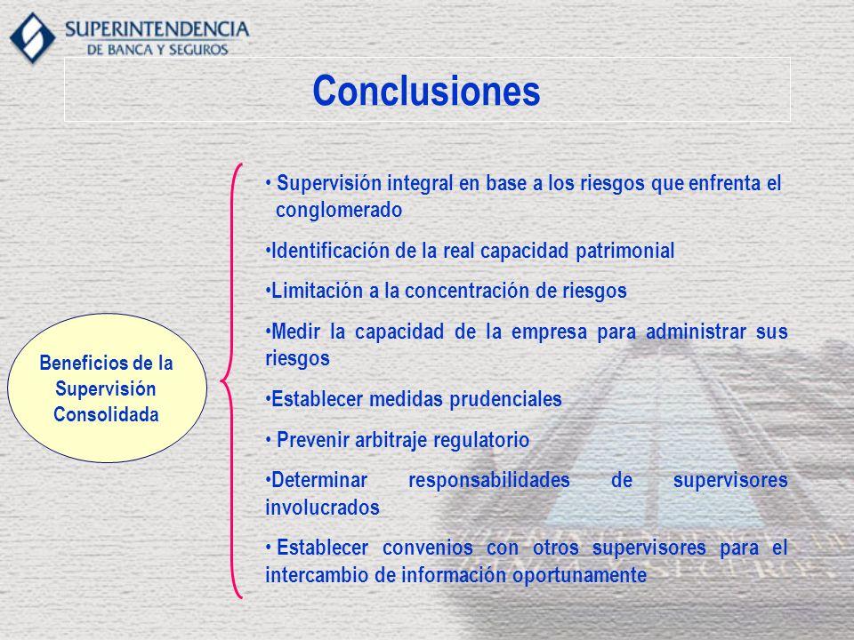 Conclusiones Supervisión integral en base a los riesgos que enfrenta el conglomerado Identificación de la real capacidad patrimonial Limitación a la c