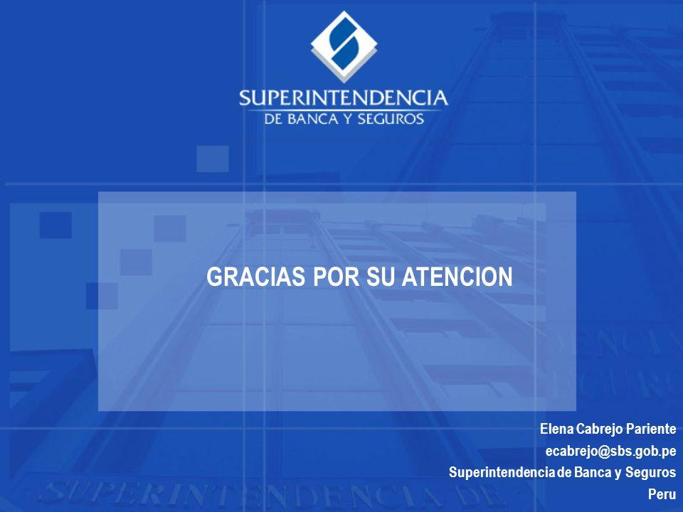 Elena Cabrejo Pariente ecabrejo@sbs.gob.pe Superintendencia de Banca y Seguros Peru GRACIAS POR SU ATENCION