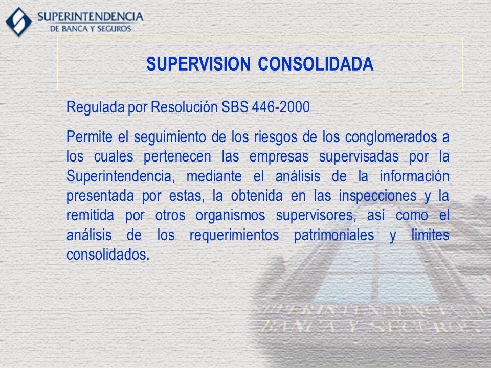 SUPERVISION CONSOLIDADA Regulada por Resolución SBS 446-2000 Permite el seguimiento de los riesgos de los conglomerados a los cuales pertenecen las empresas supervisadas por la Superintendencia, mediante el análisis de la información presentada por estas, la obtenida en las inspecciones y la remitida por otros organismos supervisores, así como el análisis de los requerimientos patrimoniales y limites consolidados.