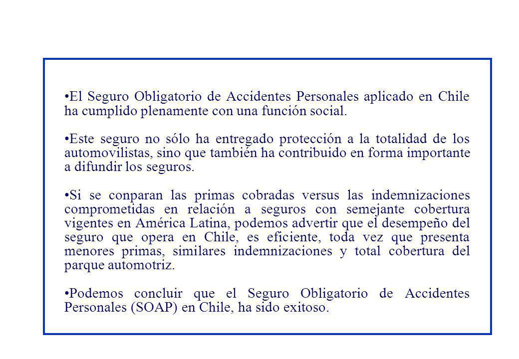 El Seguro Obligatorio de Accidentes Personales aplicado en Chile ha cumplido plenamente con una función social. Este seguro no sólo ha entregado prote