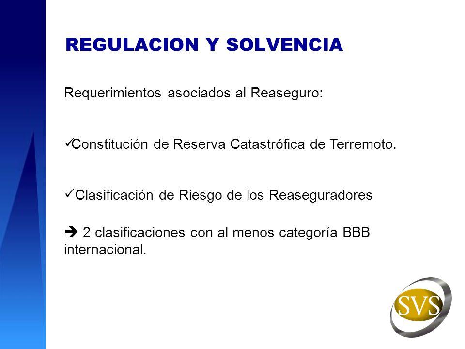 REGULACION Y SOLVENCIA Requerimientos asociados al Reaseguro: Constitución de Reserva Catastrófica de Terremoto. Clasificación de Riesgo de los Reaseg