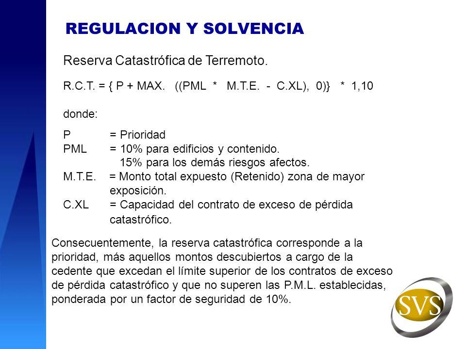 REGULACION Y SOLVENCIA Reserva Catastrófica de Terremoto. R.C.T. = { P + MAX. ((PML * M.T.E. - C.XL), 0)} * 1,10 donde: P= Prioridad PML= 10% para edi