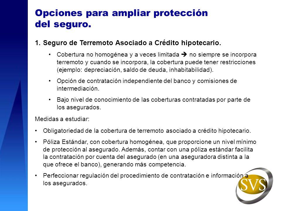 Opciones para ampliar protección del seguro. 1.Seguro de Terremoto Asociado a Crédito hipotecario. Cobertura no homogénea y a veces limitada no siempr