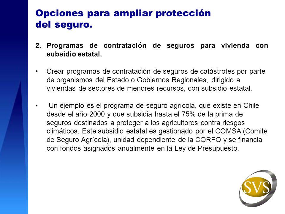 Opciones para ampliar protección del seguro. 2.Programas de contratación de seguros para vivienda con subsidio estatal. Crear programas de contratació