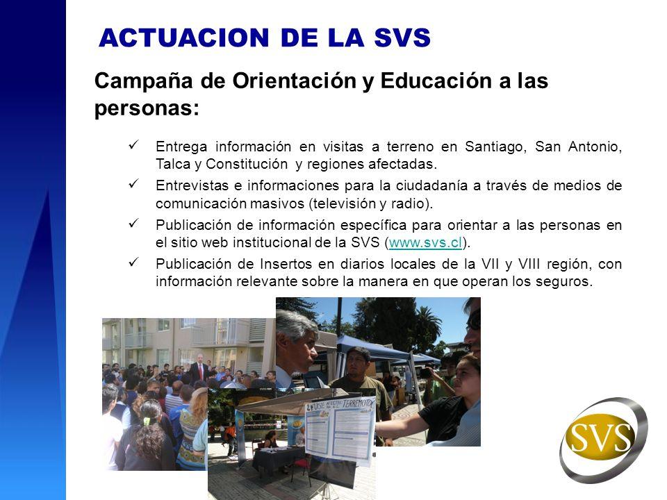 Campaña de Orientación y Educación a las personas: Entrega información en visitas a terreno en Santiago, San Antonio, Talca y Constitución y regiones