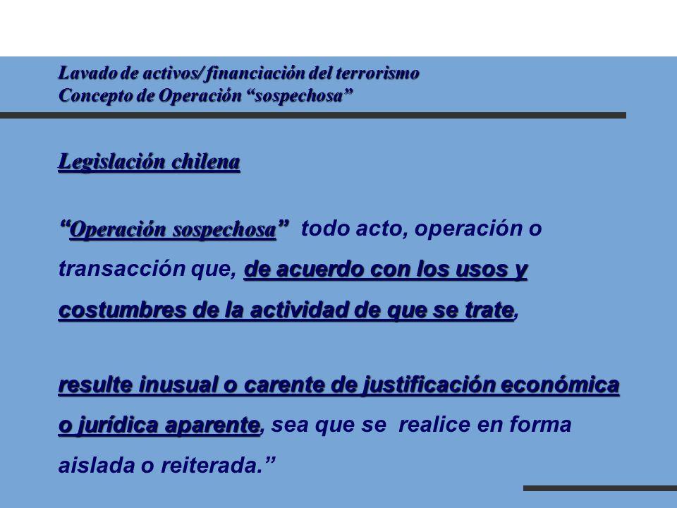 Lavado de activos/ financiación del terrorismo Concepto de Operación sospechosa Legislación chilena Operación sospechosa Operación sospechosa todo act